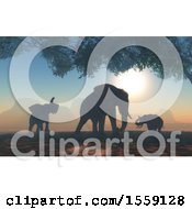 Clipart Of A Silhouetted Herd Of Elephants At Sunset Royalty Free Illustration by KJ Pargeter