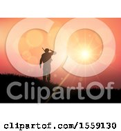 3d Silhouetted Soldier Saluting Against A Sunset