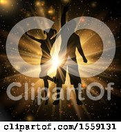 Clipart Of A Silhouetted Couple Dancing At A Party In A Gold Burst Royalty Free Vector Illustration