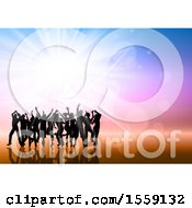 Clipart Of A Silhouetted Group Of Party People Against A Colorful Background And Burst Royalty Free Vector Illustration
