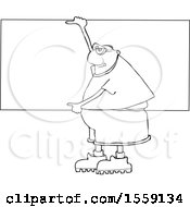 Clipart Of A Cartoon Lineart Chubby Black Man Wearing Safety Goggles And Holding Up A Blank Sign Royalty Free Vector Illustration