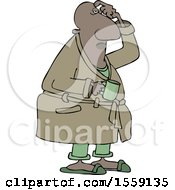 Cartoon Chubby Black Man In His Robe Scratching His Head And Holding A Coffee Mug