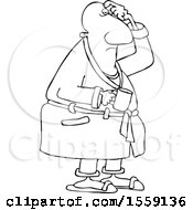 Clipart Of A Cartoon Lineart Chubby Black Man In His Robe Scratching His Head And Holding A Coffee Mug Royalty Free Vector Illustration