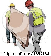 Clipart Of Construction Workers Carrying A Board Royalty Free Vector Illustration