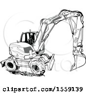 Poster, Art Print Of Black And White Excavator Machine