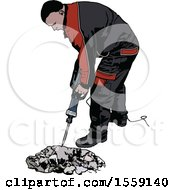 Clipart Of A Construction Worker Using A Jackhammer Royalty Free Vector Illustration