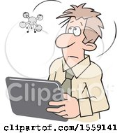 Clipart Of A Cartoon Drone Hovering Over A Man Using A Tablet Royalty Free Vector Illustration