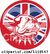 Poster, Art Print Of Retro Guard Bulldog With A Spiked Collar In A Uk Flag Circle
