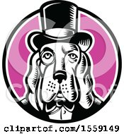 Clipart Of A Retro Woodcut Basset Hound Dog Mascot Wearing A Monacle And Top Hat In A Circle Royalty Free Vector Illustration