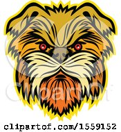 Clipart Of A Retro Aggressive Affenpinscher Monkey Terrier Dog Royalty Free Vector Illustration