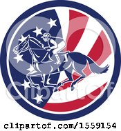 Clipart Of A Retro Racing Jockey In An American Flag Circle Royalty Free Vector Illustration