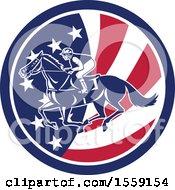 Poster, Art Print Of Retro Racing Jockey In An American Flag Circle