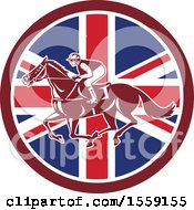 Clipart Of A Retro Racing Jockey In A British Flag Circle Royalty Free Vector Illustration