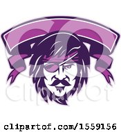 Retro Male Pirate Face With An Eye Patch And A Purple Banner