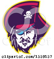 Clipart Of A Retro Male Pirate Face With An Eye Patch Royalty Free Vector Illustration