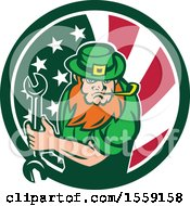 Clipart Of A St Patricks Day Leprechaun Mechanic Holding A Wrench In An American Irish Flag Circle Royalty Free Vector Illustration