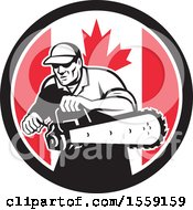 Clipart Of A Retro Male Arborist Starting Up A Chainsaw In A Canadian Flag Circle Royalty Free Vector Illustration