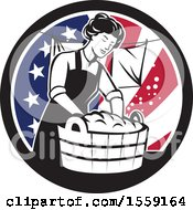 Clipart Of A Retro Housewife Doing Laundry In An American Flag Circle Royalty Free Vector Illustration