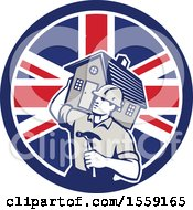 Retro Male Home Builder Carrying A House And Hammer In A British Flag Circle