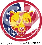 Poster, Art Print Of Retro Grizzly Bear Head In An American Flag Circle