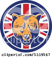 Retro Grizzly Bear Head In A Union Jack Flag Circle