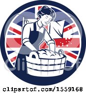 Clipart Of A Retro Housewife Doing Laundry In A British Flag Circle Royalty Free Vector Illustration