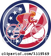 Poster, Art Print Of Retro Male Cyclist In An American Flag Circle