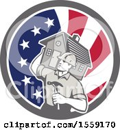 Retro Male Home Builder Carrying A House And Hammer In An American Flag Circle