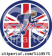 Clipart Of A Retro Male Cyclist In A British Flag Circle Royalty Free Vector Illustration by patrimonio