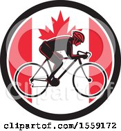 Clipart Of A Retro Male Cyclist In A Canadian Flag Circle Royalty Free Vector Illustration by patrimonio