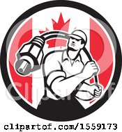 Retro Male Cable Guy With A Coaxial Cable In A Canadian Flag Circle