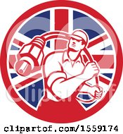 Retro Male Cable Guy With A Coaxial Cable In A British Flag Circle