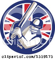 Retro Cricket Batsman In A British Flag Circle