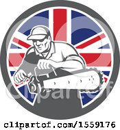 Clipart Of A Retro Male Arborist Starting Up A Chainsaw In A British Flag Circle Royalty Free Vector Illustration