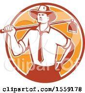 Retro Urban Farmer Wearing A Neck Tie And Holding A Hoe Over His Shoulder