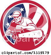 Clipart Of A Retro Male Arborist Starting Up A Chainsaw In An American Flag Circle Royalty Free Vector Illustration
