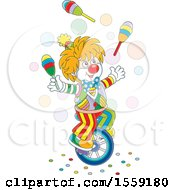 Clipart Of A Cartoon Clown Juggling And Riding A Unicycle Royalty Free Vector Illustration