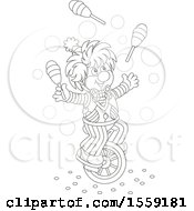 Lineart Clown Juggling And Riding A Unicycle