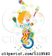 Clown Riding A Unicycle And Juggling