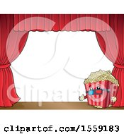 Popcorn Bucket Mascot On A Stage