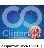 Poster, Art Print Of Popcorn Bucket Mascot On A Stage Over Blue