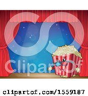 Popcorn Bucket Mascot On A Stage Over Blue