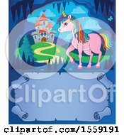 Clipart Of A Unicorn And Castle Royalty Free Vector Illustration by visekart