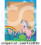 Clipart Of A Unicorn And Parchment Scroll Royalty Free Vector Illustration by visekart