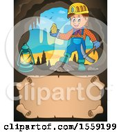 Clipart Of A Miner Holding Ore In A Cave Over Parchment Royalty Free Vector Illustration by visekart