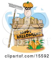 Man Wearing A Pumpkin Hat And Peeking Out From Behind A Wooden Fence With A Rake Leaning Against It A Pumpkin In The Foreground And A Sign Reading Happy Halloween Clipart Illustration