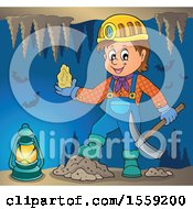 Clipart Of A Miner Holding Ore In A Cave Royalty Free Vector Illustration by visekart