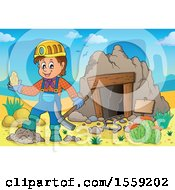 Clipart Of A Miner Holding Ore By A Cave Royalty Free Vector Illustration by visekart