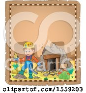 Clipart Of A Parchment Page With A Miner Holding Ore By A Cave Royalty Free Vector Illustration by visekart