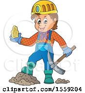 Clipart Of A Miner Holding Ore Royalty Free Vector Illustration